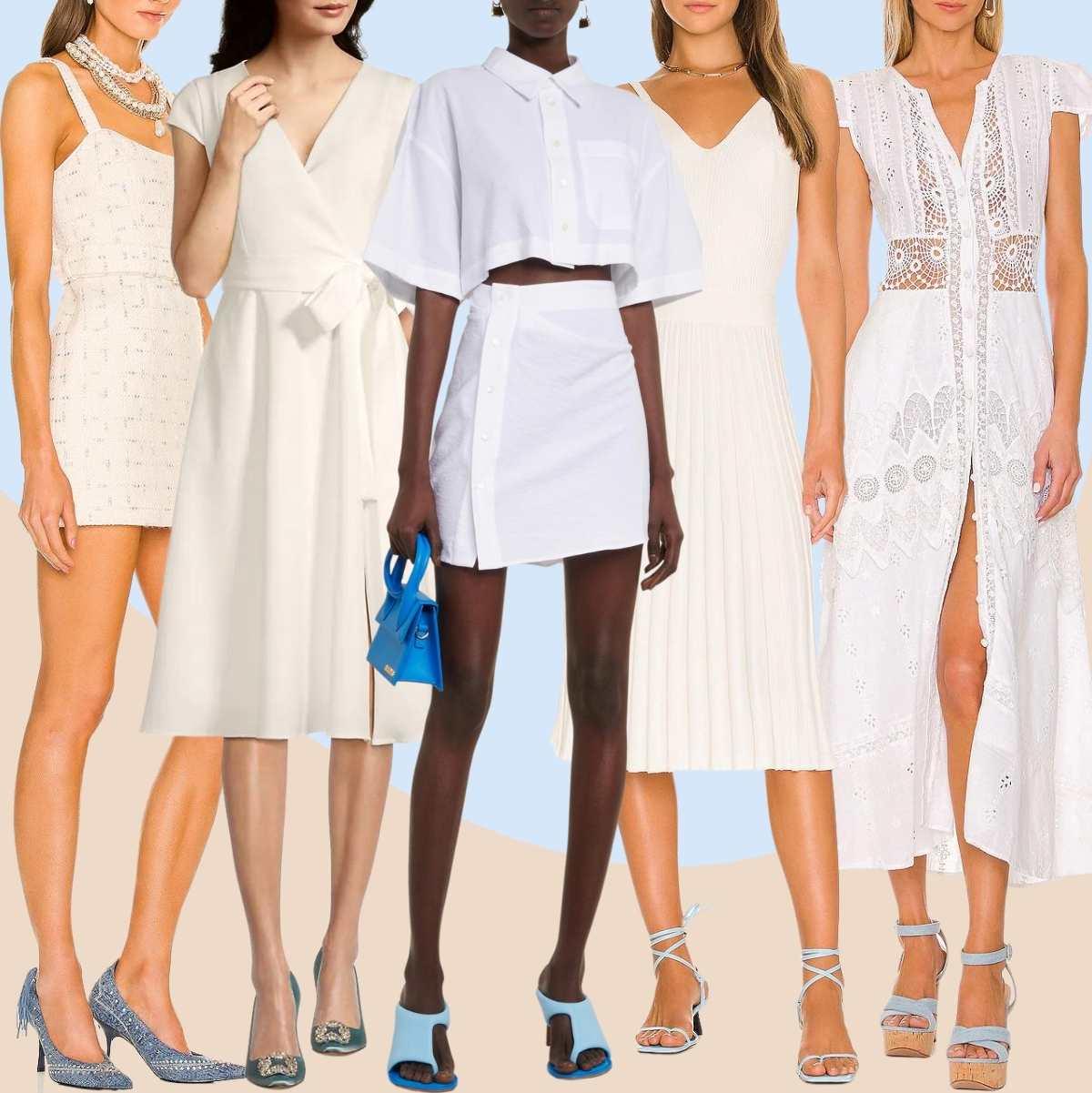 White Dress Blue Shoes