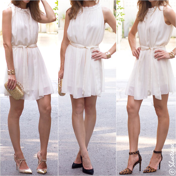 Light Pink Dress Gold Shoes