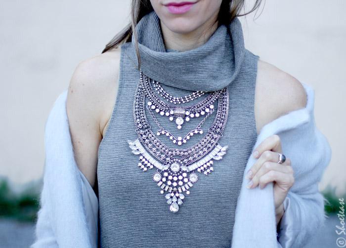 bib silver Statement Necklace