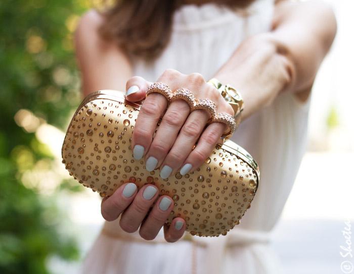 gold satin sparkle clutch
