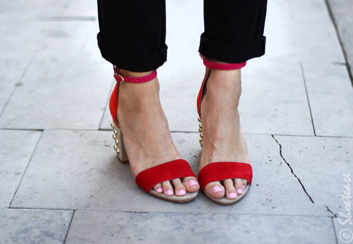 red studded fall sandals 2