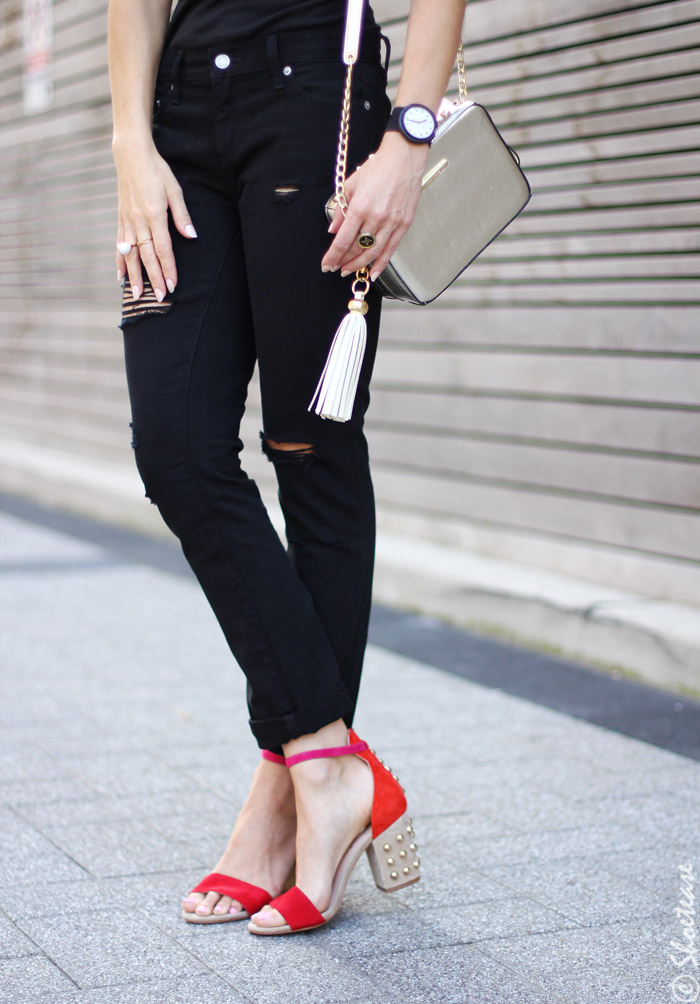 Fall Sandals - Red Studded Sandals