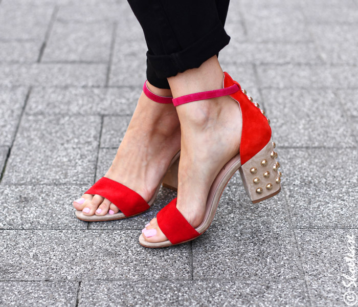 red studded fall sandals