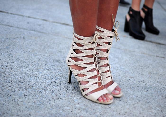 Toronto Fashion Week beige sandals