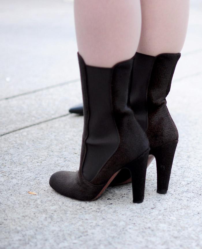 Toronto Fashion Week brown heeled boots