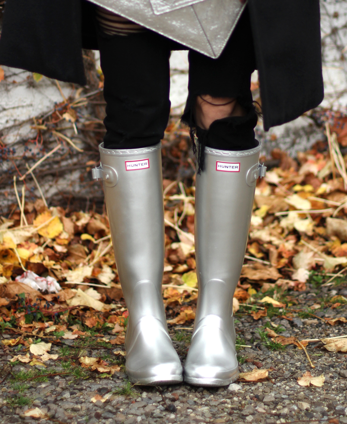 Silver Hunter Rain Boots Outfit Fall
