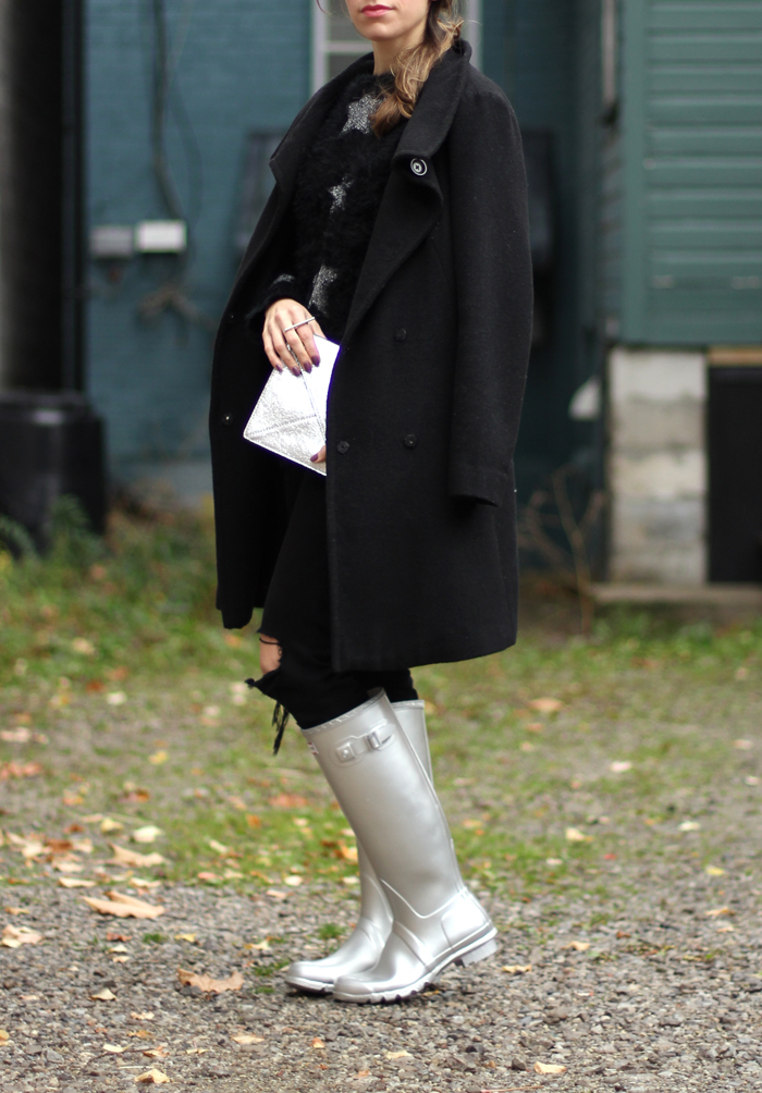 Silver Hunter Rain Boots Outfit