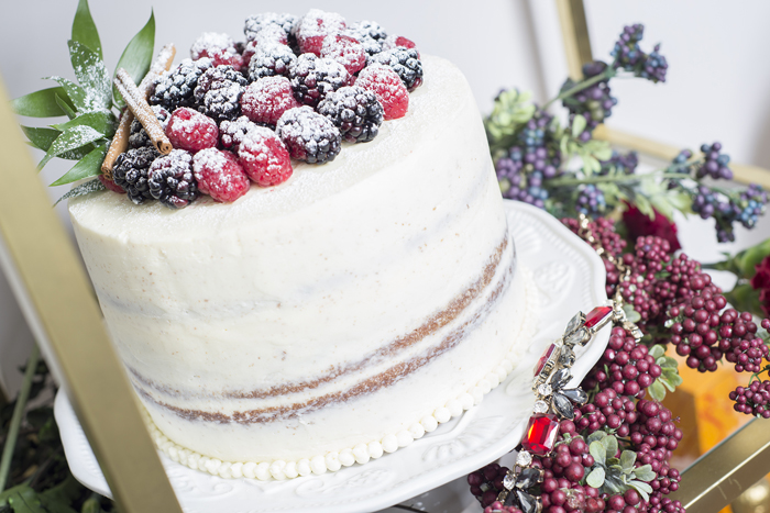 frosted fresh berry layer cake