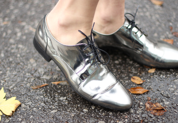 Mirror Metallic Silver Oxfords Womens