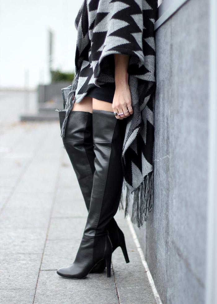 Black Leather Nine West Over the Knee