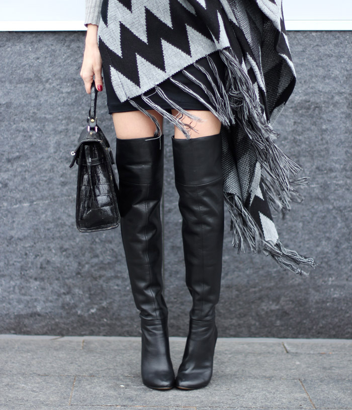 2110eacc772 Black Leather Nine West Over the Knee Boots. Styled!