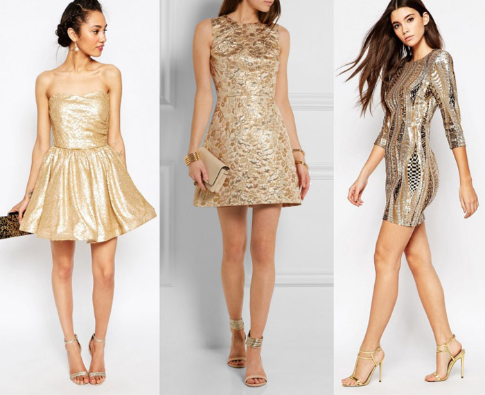 What color heels go with gold dress