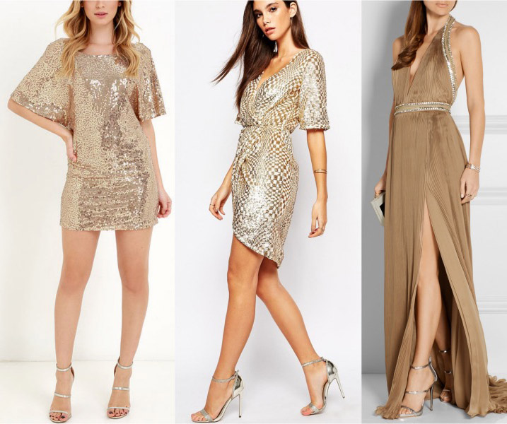 Get golden what color shoes to wear with a gold dress or skirt