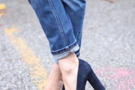 navy high heels for winter
