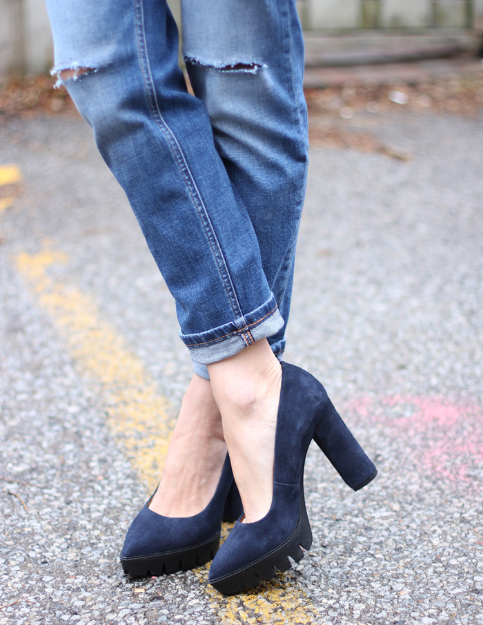 navy high heels for winter