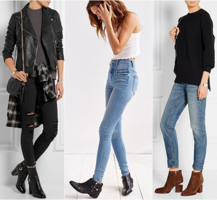 Match the boots with the color of the bottom (ex. black ankle booties with black or dark blue skinny jeans or leggings, tan boots on tan skin, black against dark opaque tights, etc.).