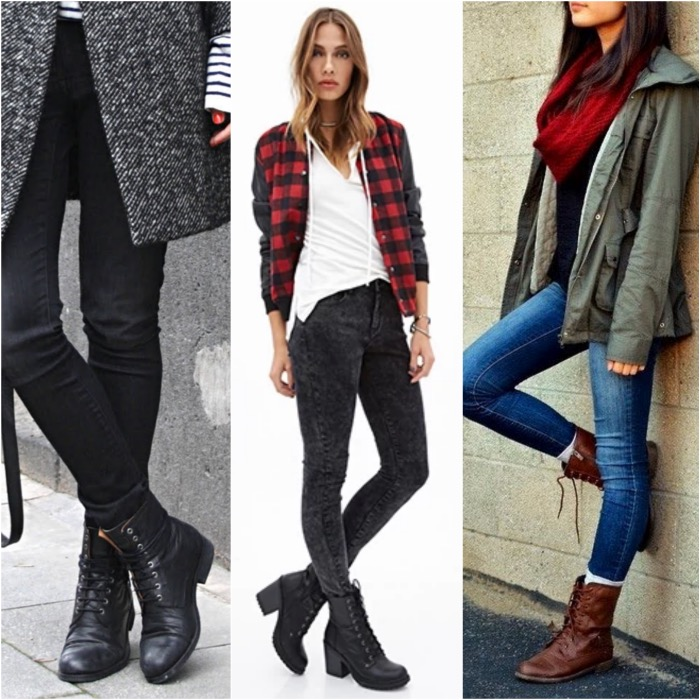 combat boots with skinny jeans