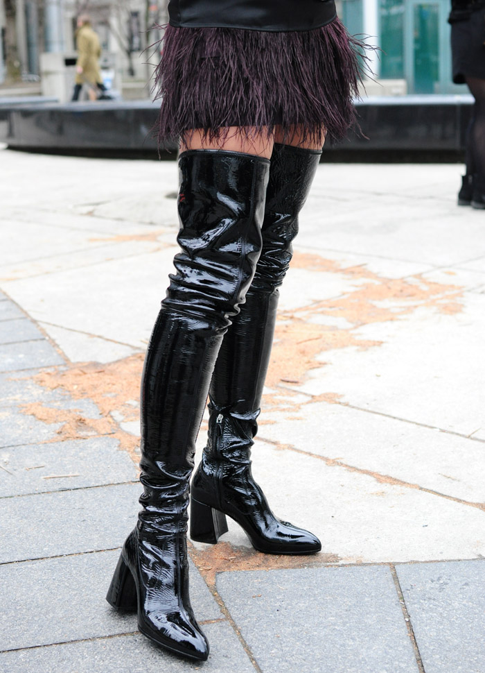 TFW Street Style Thigh high black patent boots