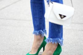TFW green heels fringe jeans