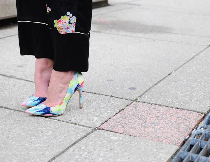 TFW street style neon florals heels