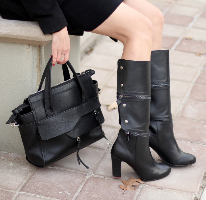 black knee high boots winter outfit