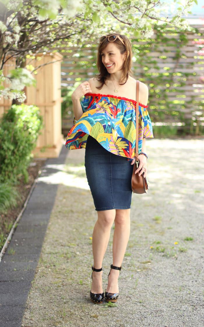 Colorful off the shoulder top denim skirt