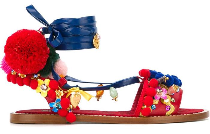 Dolce&Gabbana pom pom sandals
