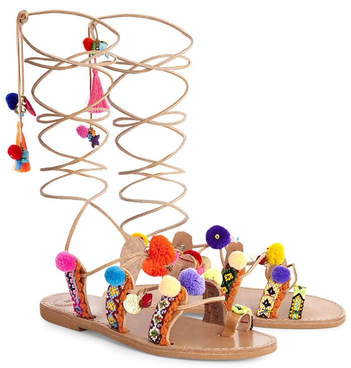 ELINA LINARDAKI pom pom sandals 1