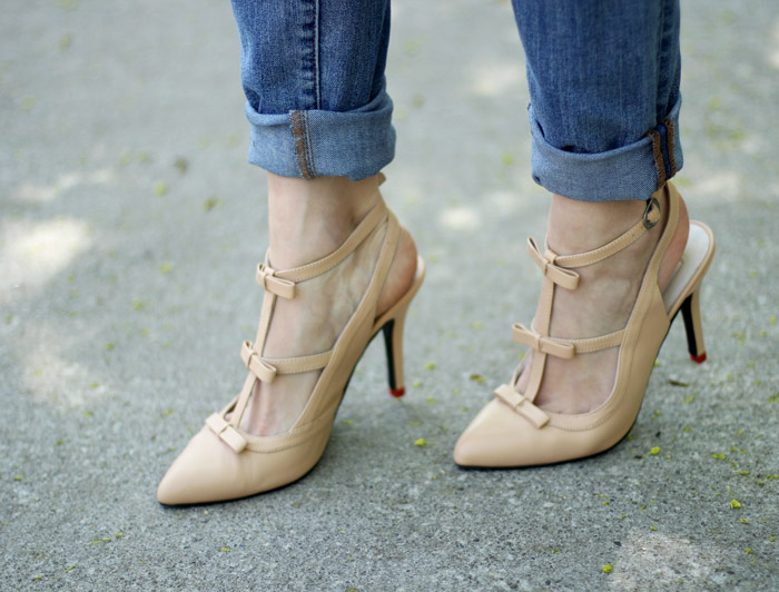 Cute Nude Bow Heels with Wedges Styled
