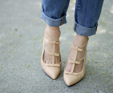 Nude Bow Heels by Ssh-oes