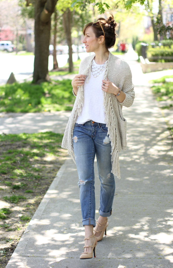 Nude bow Pumps Fringed Cardigan