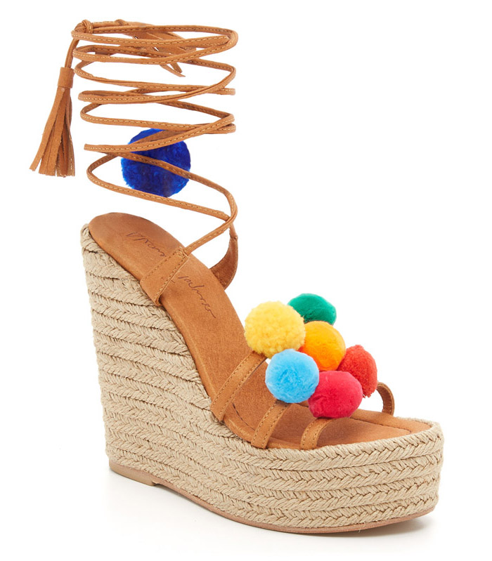 Pom Pom Wedge Sandals