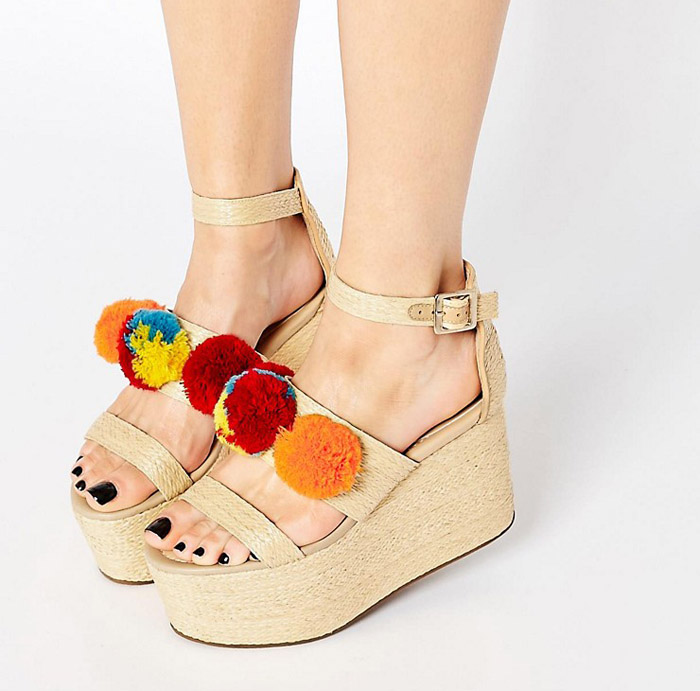Pom Pom sandals wedges ASOS