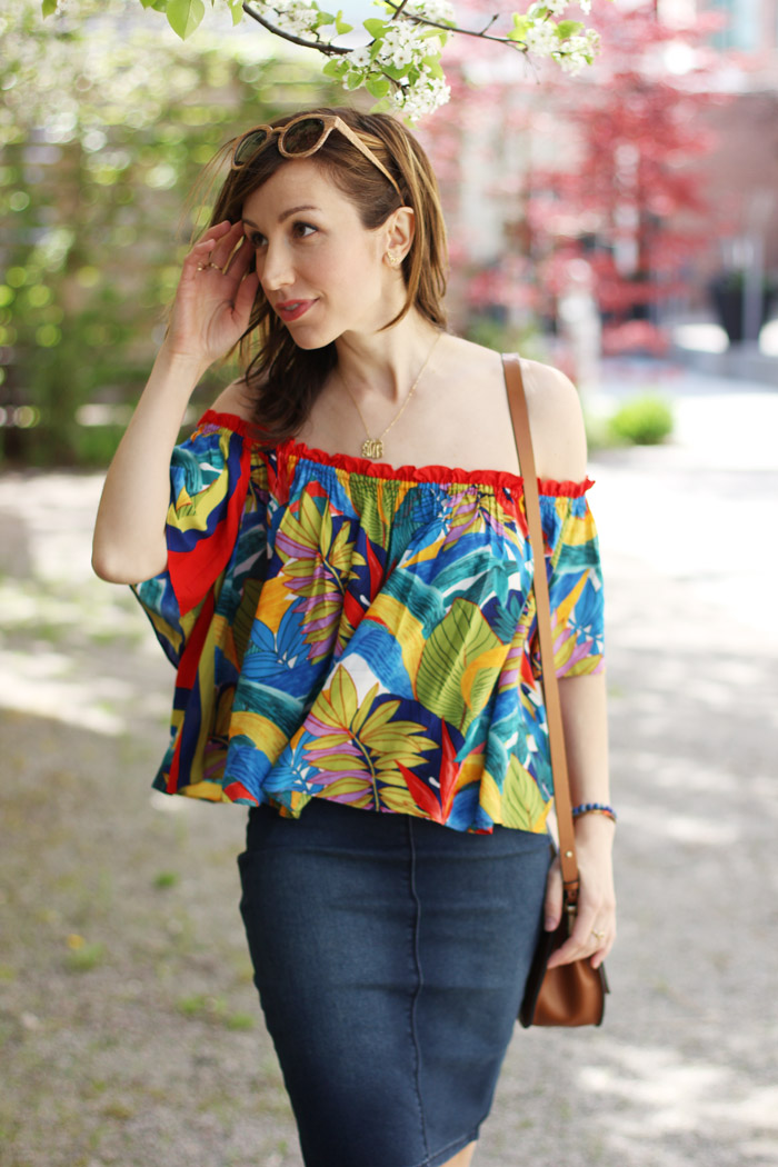 Tropical off the shoulder top denim skirt