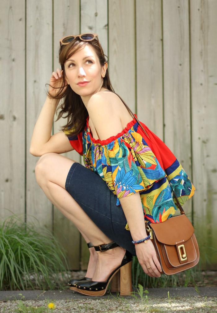 Wooden Platform Heels & Tropical Print Off-the-Shoulder Top