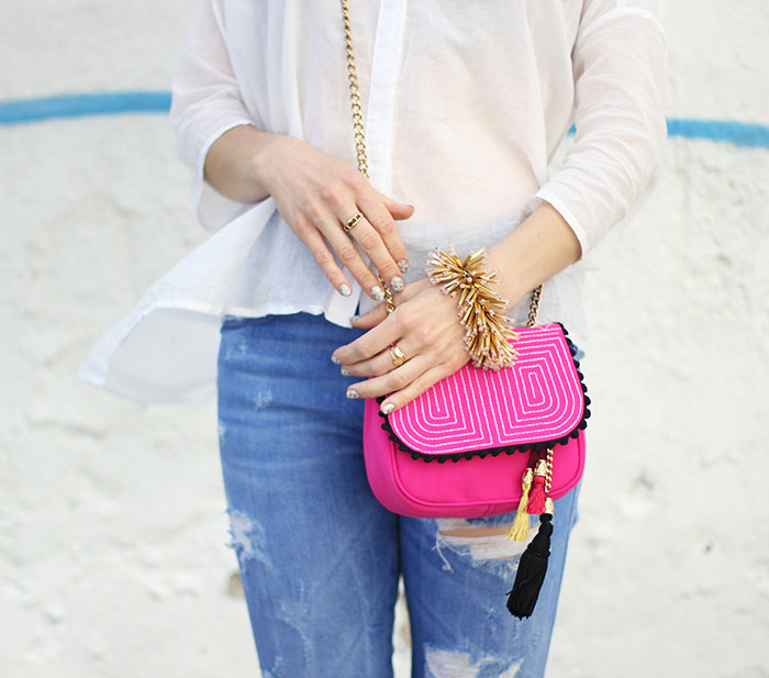 Pink Cross Body Purse Ripped Jeans