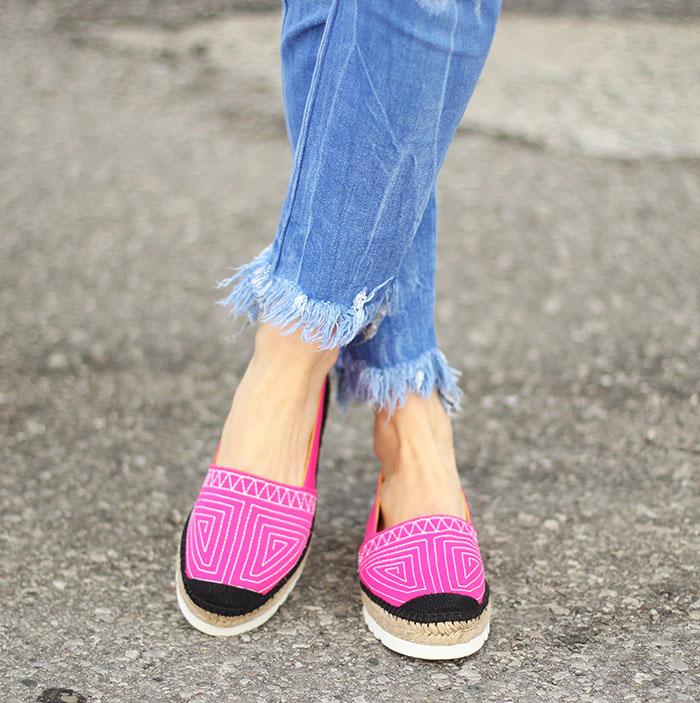 Pink embroidered platform espadrilles from Spain