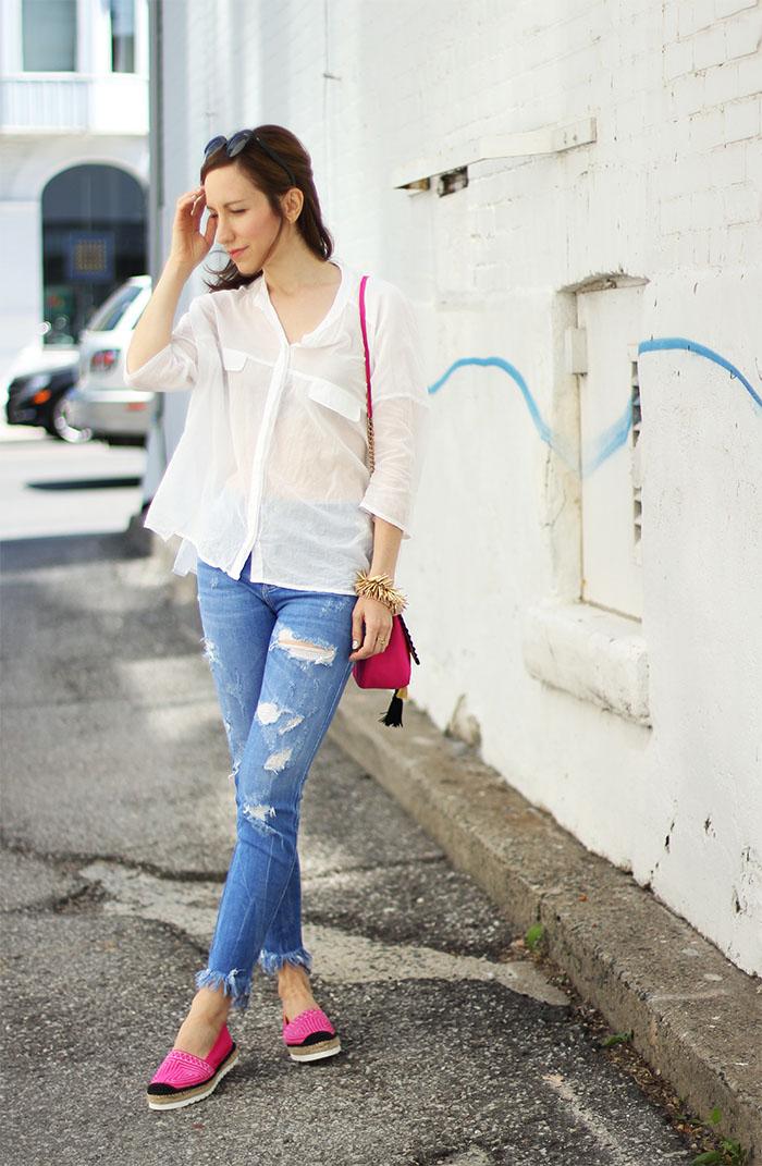 Pink platform espadrilles outfit