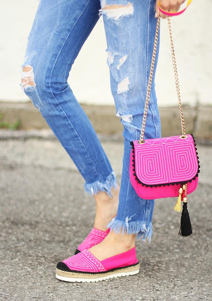 Pink platform espadrilles purse spain