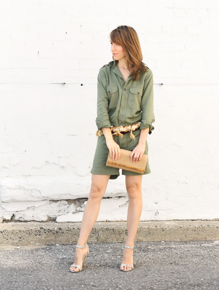 Snake Print Heels with Olive Green Romper