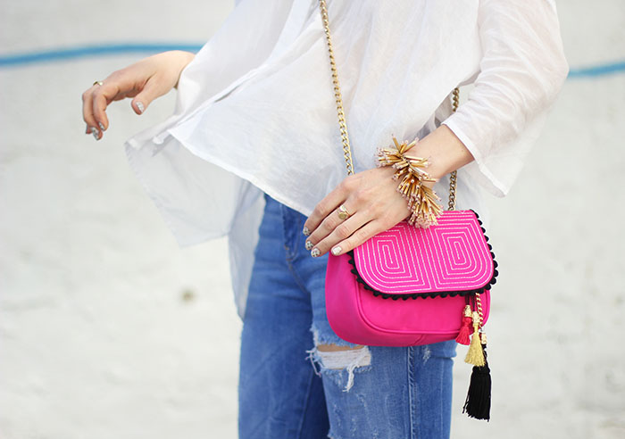 Spanish pink purse with tassels