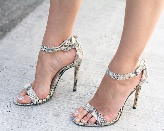 Vegan Snake Print Heels Sandals
