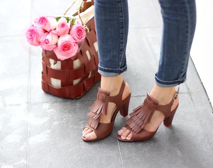 Brown Fringe Sandals Basket Tote