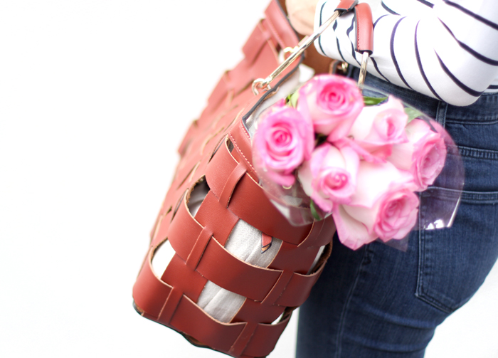 Brown weave purse with roses