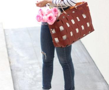 Brown Fringe Sandals, skinny Jeans, off the shoulder top