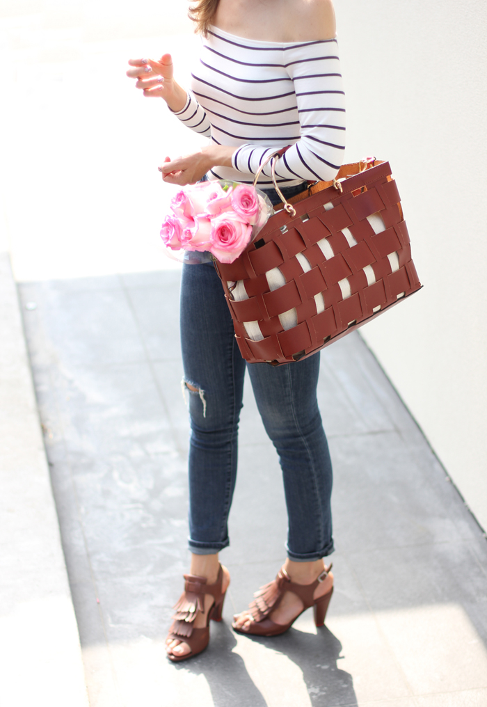 Brown Fringe Sandals, skinny Jeans, off the shoulder top