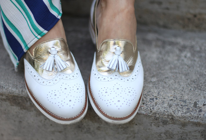 Gold and White Loafers with Tassels