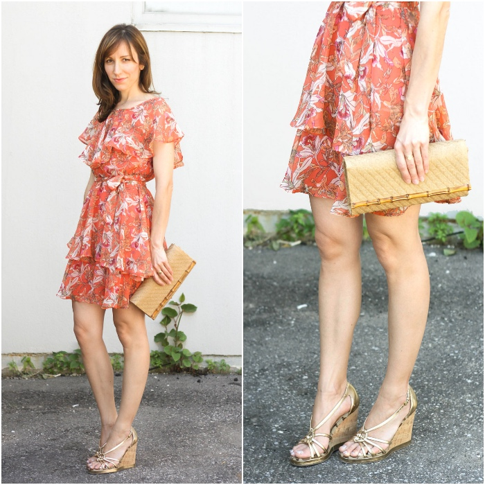 Gold Shoes with Orange Dress