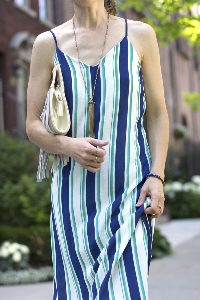 Gold Amp White Loafers With Green Vertical Striped Maxi Dress