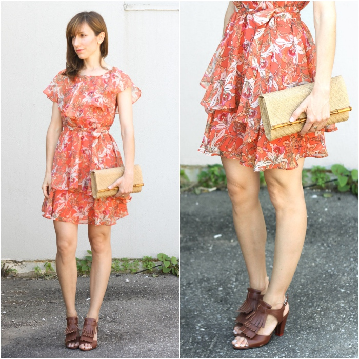 Brown Shoes with Orange Dress
